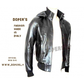 Leather jacket for men Model Bomber George Cap