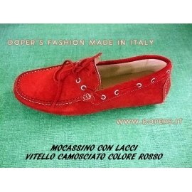 Genuine leather shoes Model Moccasin Red Vinci