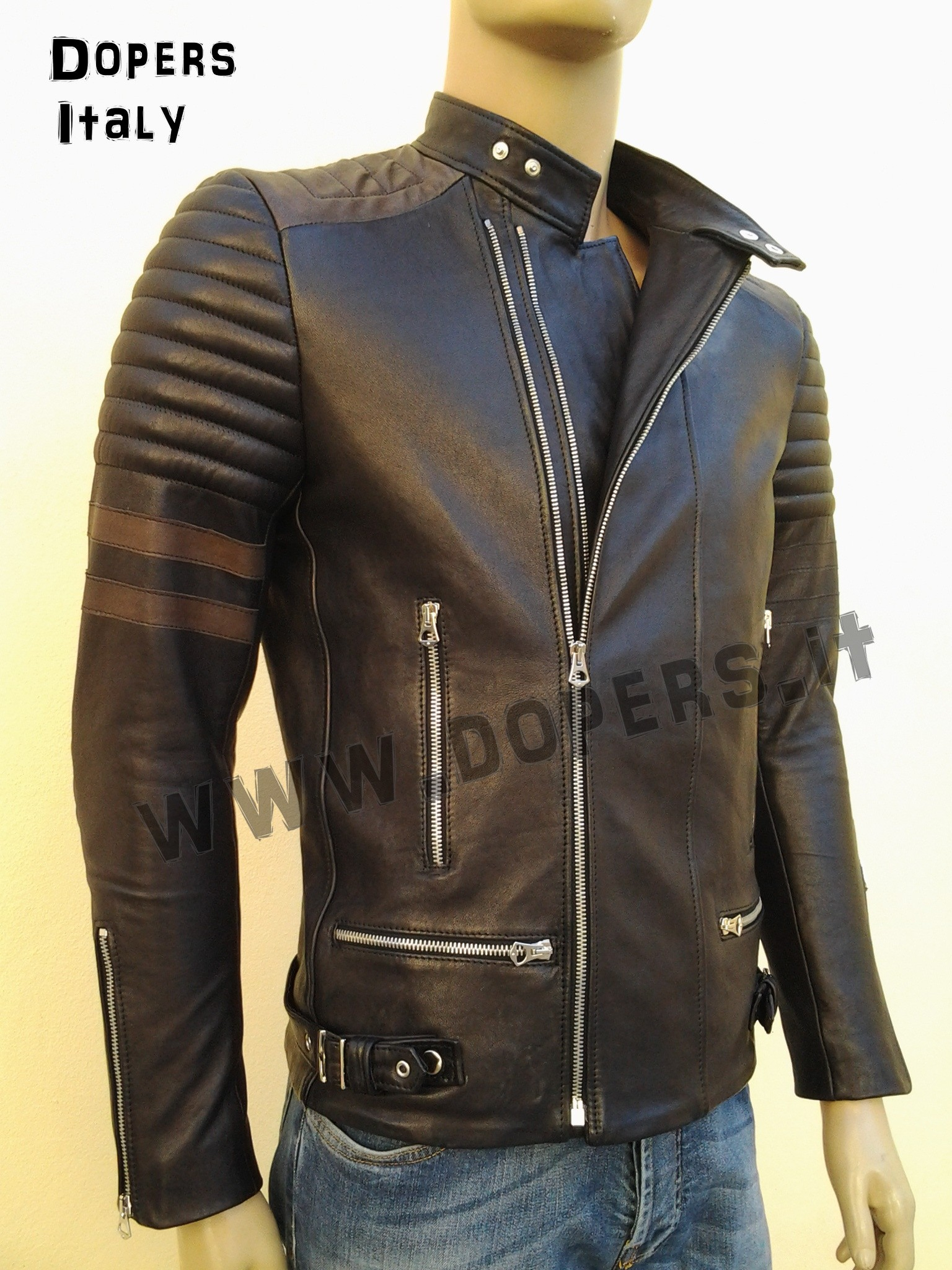 best website 298bd 771ee Leather jacket for men model Kim Raider - DoperS Fashion Made in Italy
