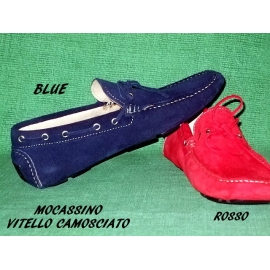 Real Leather Shoes Model Vinci Blue Mocassin