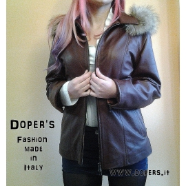 Real woman leather jacket, model Veronica