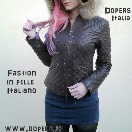Leather jacket for woman model Sophie