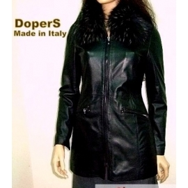 Women's leather jacket, model LEONA