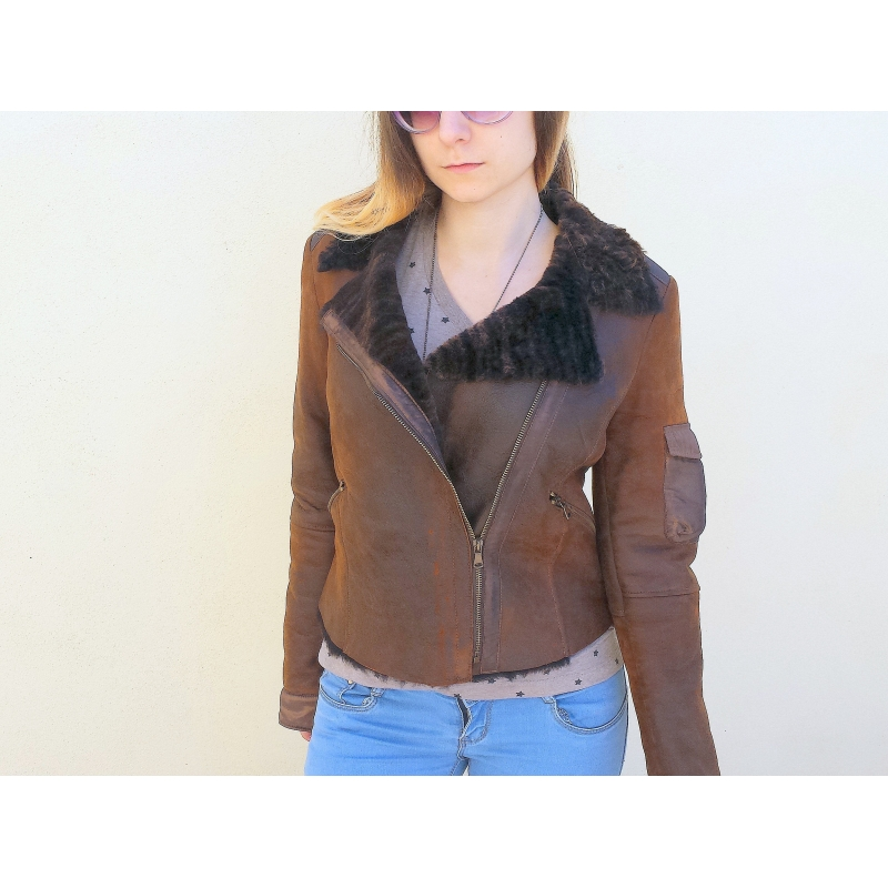 nuovo concetto 2ae57 cc125 Shearling Leather Jacket Woman Model Chiodo X 145 - DoperS Fashion Made in  Italy