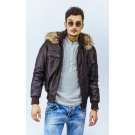 Leather jacket for men model Bomber Bear