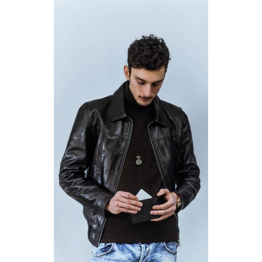 purchase cheap d1dee 7db1a Giubbotto pelle uomo Mod. george neck bomber