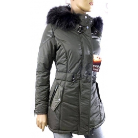 Coat in leather, fabric and fur style Minoux