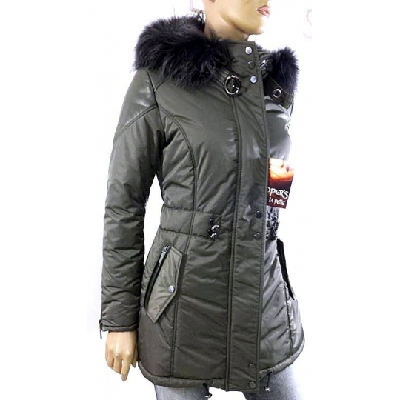 online retailer 22d39 5a1f4 Cappotto in pelle, tessuto e pelliccia trapuntato modello Minoux